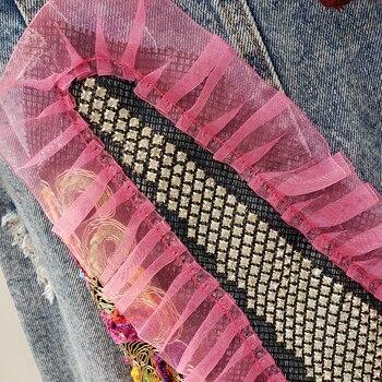 2020 Spring Autumn Streetwear Print Hole Diamonds Denim Jacket Women Mesh Lace Up Short Casual Jean Coat Female Outwear Tops 3