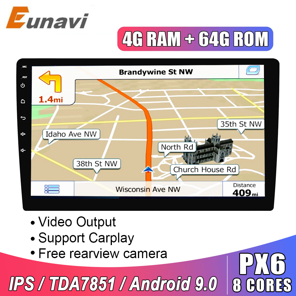 Eunavi 2 Din Android 9,0 universal Auto Radio Stereo 8 KERNE Multimedia Player GPS Navigation Audio IPS tda7851 autoradio video