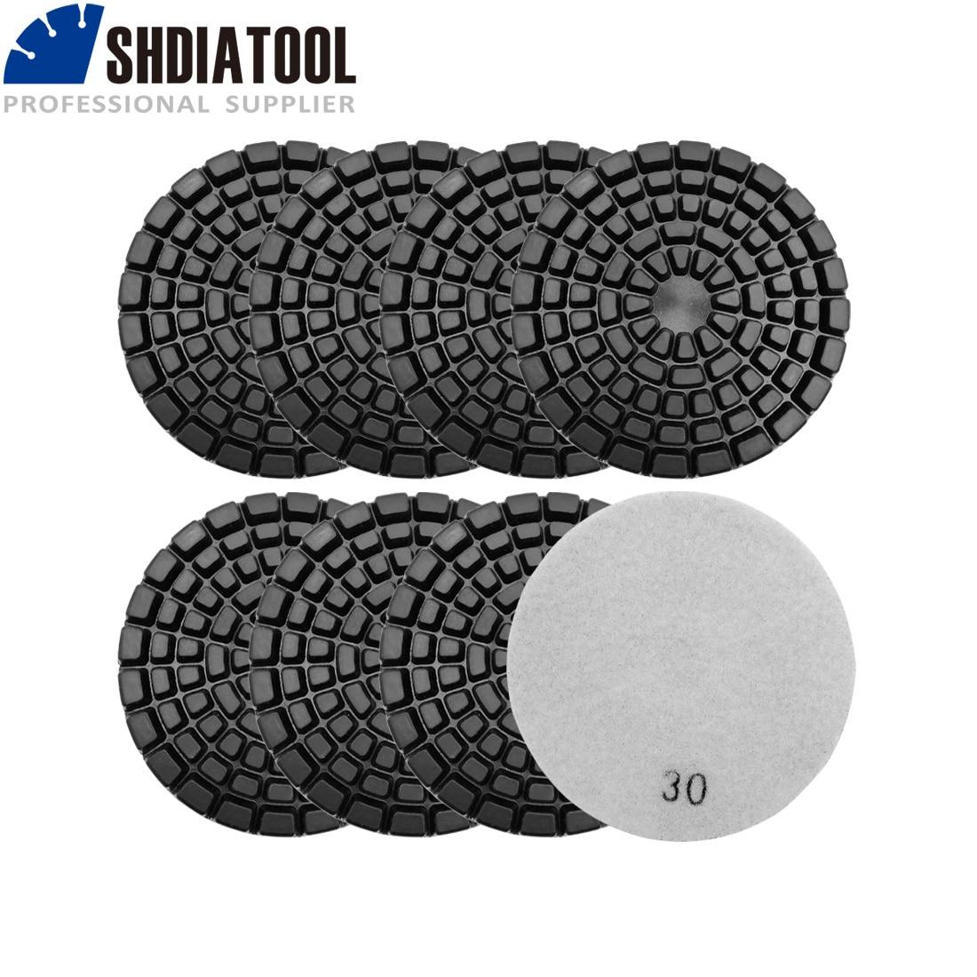 SHDIATOOL 8pcs 100mm/4inch Thickened Diamond Resin Bond Concrete Polishing Pads Grit #30 Concrete Floor Renew Sanding Discs