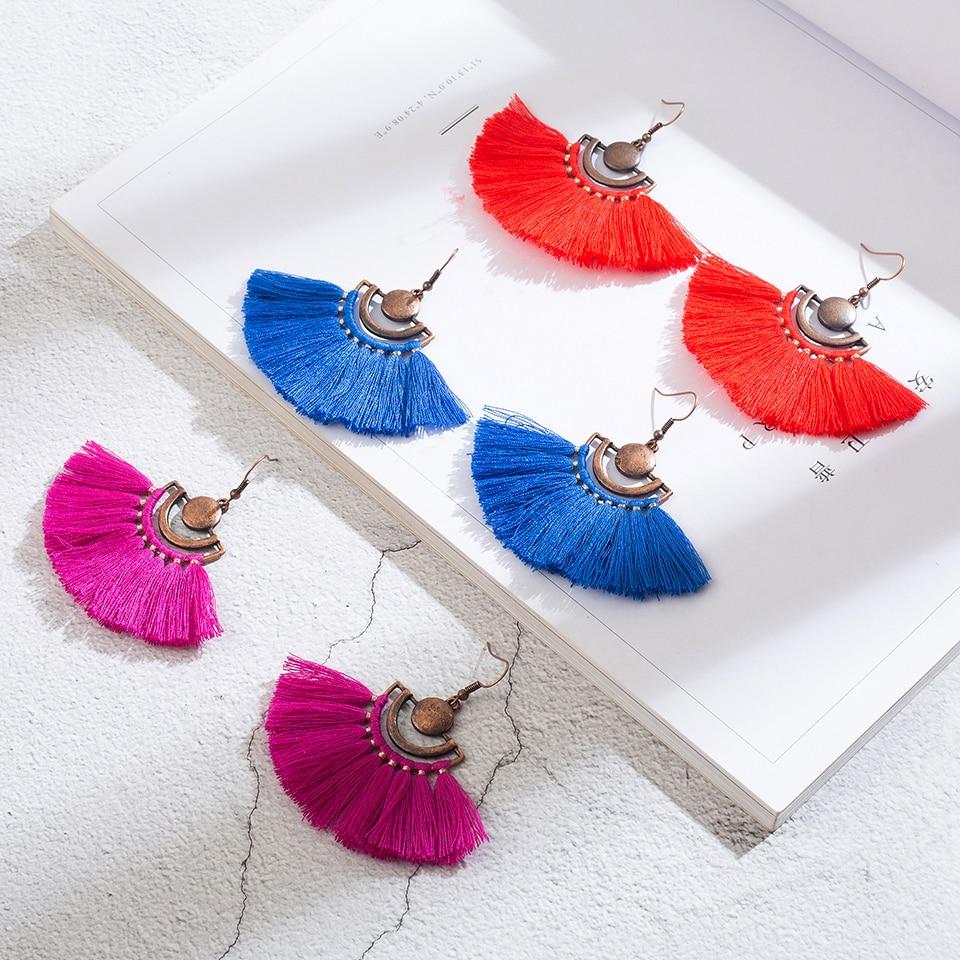 Antique Boho Bohemian Dangle Drop Tassel Earrings For Women Female 2018 Ethnic Engagement Earrings Hanging Jewelry Accessories