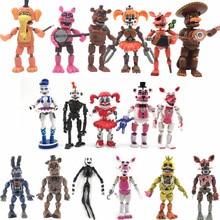 17 шт./компл. с изображениями персонажей игры «пять ночей с Фредди» фигурку игрушка из фнаф Бонни Фокси» из мультфильма для мальчика, Fazbear медведь фигурки игрушки куклы для детей подарок
