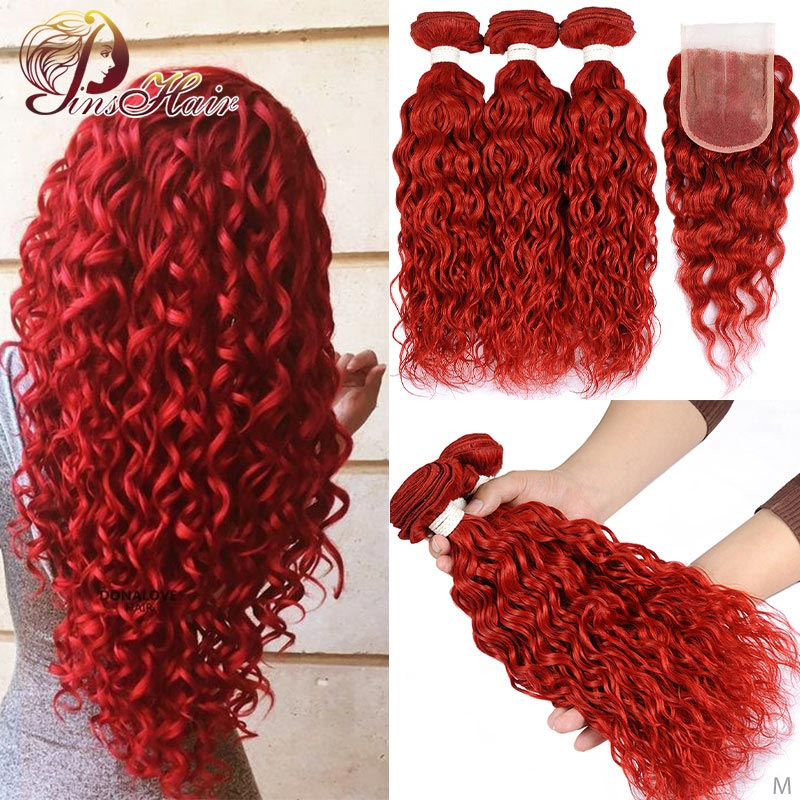 Colored Red 3 Bundles With Closure Water Wave Bundles With Closure Brazilian Human Hair Weave Bundles With Closure Pinshair Remy