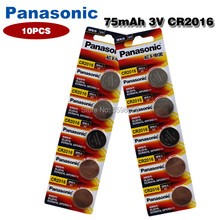 Panasonic 10 pçs/lote cr2016 original botão célula bateria, 3v baterias de lítio cr 2016 para relógio, brinquedos, computador, controle de calculadora