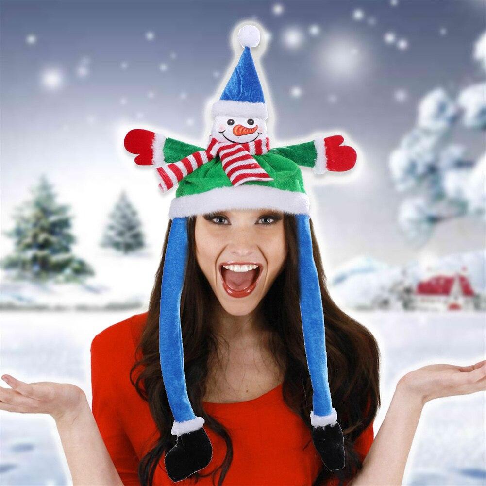 Weihnachten Hut Santa Claus Schneemann Hut Kostüm Ohr Moving Plüsch Kappe Weihnachten Urlaub Cosplay Headwear für Kinder Erwachsene Kostenloser versand