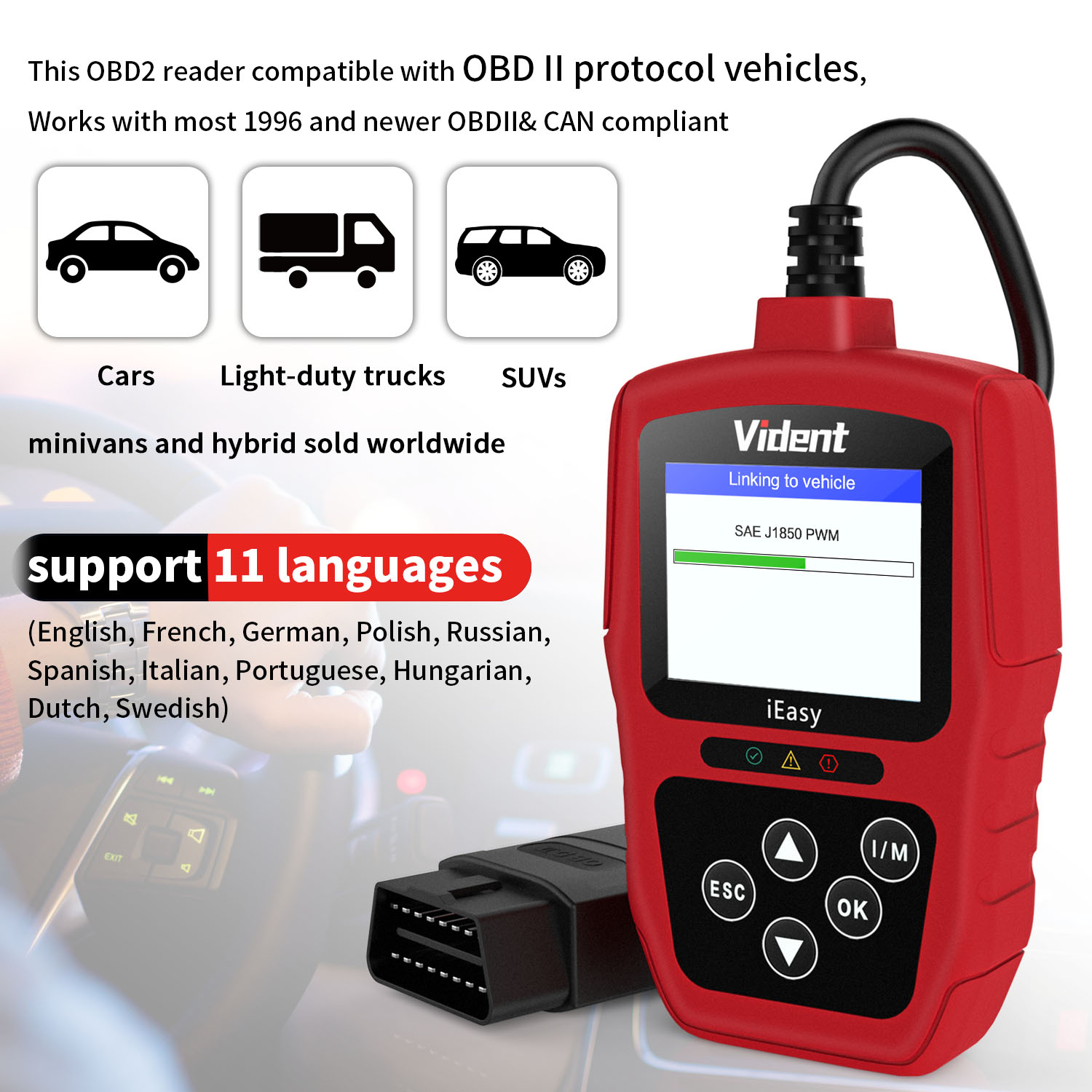 New Version VIDENT OBD2 Scanner Universal Car Diagnostic Scan Tool Enhanced iEasy300 EOBD OBDII CAN Reader with Battery Test Function Automotive Engine Fault Code Reader