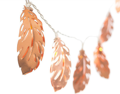 LED Light String New Rose Gold Wrought Iron Feather Leaves 10 Led Battery Light Bedroom Party Decoration Christmas Lights String