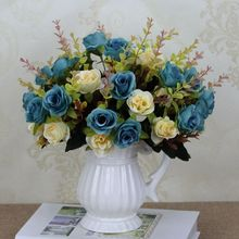 AA Artificial Flowers Fake Flower Small Bouquet For Wedding Party Home New Year Decoration Silk Flowers Wedding Party Home Decor 9 heads silk roses bouquet fake leaf wedding home party vases for new year decoration european fall cheap artificial flowers