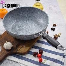 CAKEHOUD יפני סגנון Maifan אבן תחתון שטוח ווק עמוק עמוק מחבת 24cm28cm גז סיר אוניברסלי כלי בישול