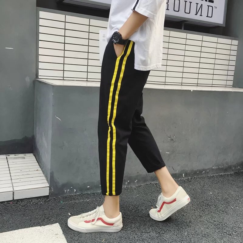 Spring And Autumn New Style Men Skinny Trend Casual Pants Students Korean-style Slim Fit Sports Ninth Pants Men's Teenager