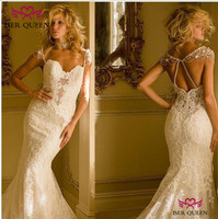 Cap Sleeves Delicate Embroidery Mermaid Wedding Dresses Sweetheart Neck Robe De Soiree 2019 Pure White Sexy Backless W0663