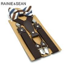 RAINIE SEAN British Style Boys Suspenders with Bow Tie Orange Yellow Kids Solid Wedding Braces for Children 65cm*2.5