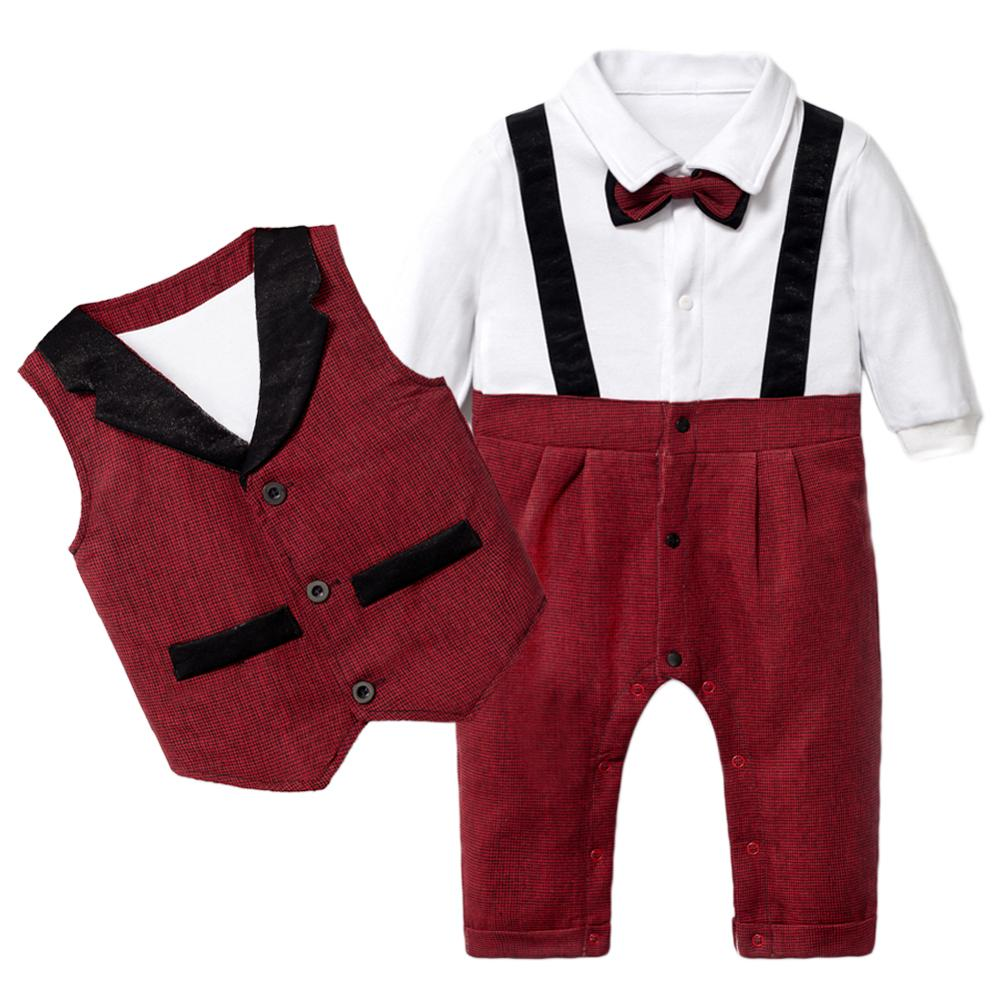 Baby Clothing Set for Newborn Boys Romper Suit Patchwork Romper + Vest with Bow 3PCS Formal Children Boy Clothes Outfit Birthday