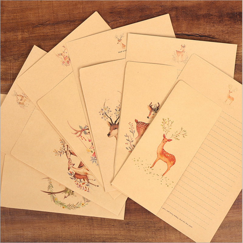 10 Pcs/Box  Animal Elk Letter Paper Envelope Set Retro Kraft Letter Paper Envelope Set Festive Letter Paper Envelope Set