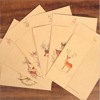 10 Pcs/Box  Animal elk letter paper envelope set retro kraft festive
