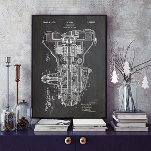 Transmission Patent Canvas Print Vintage Poster Car Engine Parts Wall Painting Wall Art Blueprint Prints Pictures Home Decor