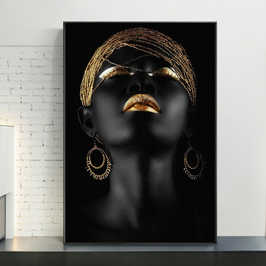 Gold And Black Modern Makeup Model African Woman Canvas Wall Art Paintings Fashion Girl Poster Prints For Living Room Home Decor