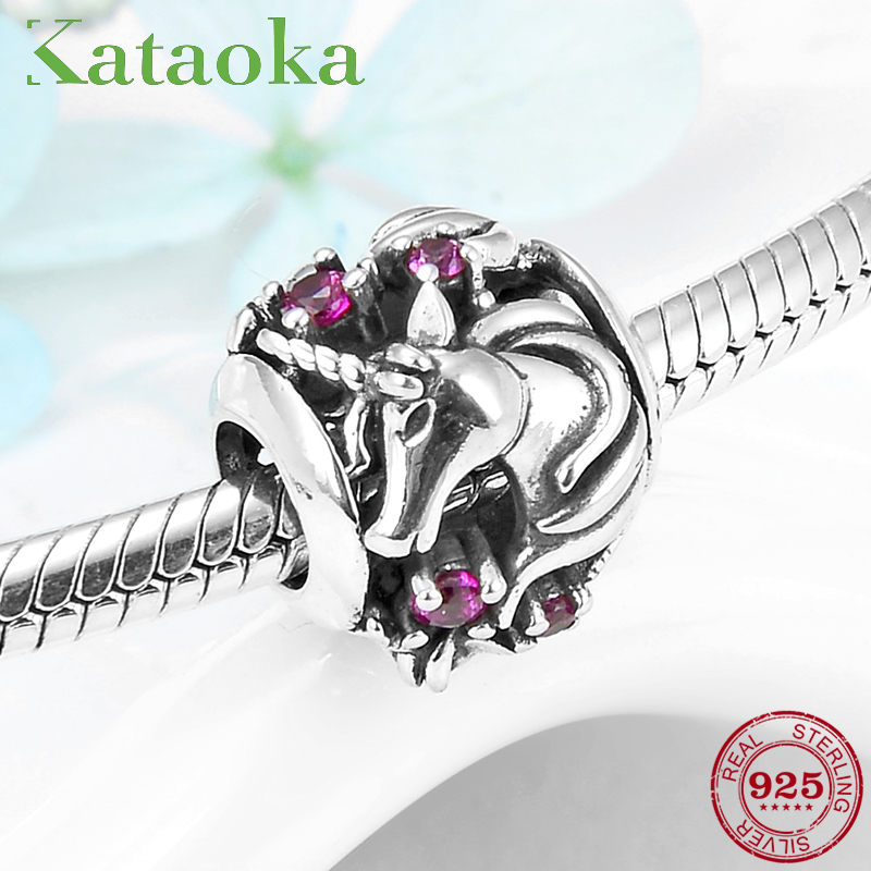 Authentic 925 Sterling Silver Pink CZ Unicorn Horse Charm Beads Fit Original Pandora Women Bracelet Necklace Jewelry 2019