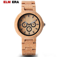 ELMERA Wood Watch Mens Clock Hour Pagan Design Men's Watches 2018 Nightmare Before Christmas Watch Band Wooden Bamboo white ceramics band design mens leisure watch