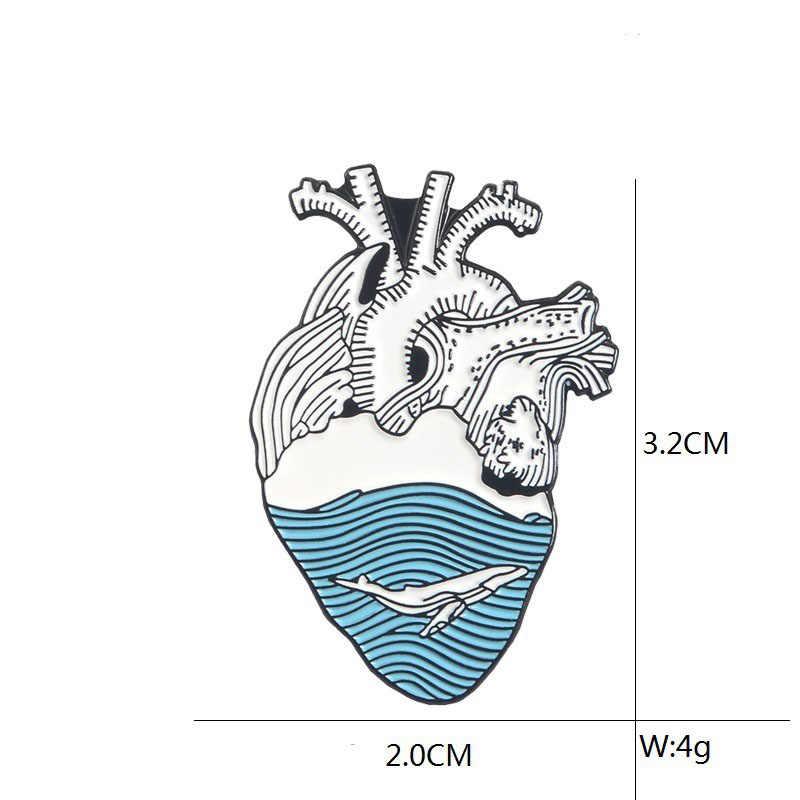 Gelombang Laut dan Paus Bros dan Enamel Pin Biru Hati Manusia Kerah Pin Anatomi Anatomi Jantung Lencana