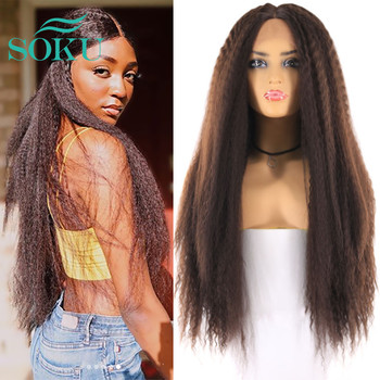 SOKU Ombre Brown Synthetic Lace Wigs African American Hairstyle  Long Kinky Straight Middle Part Wig For Black Women - discount item  42% OFF Synthetic Hair