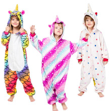 Pajama Sleepwear Onesie Unicorn Animal Cosplay Kid Children Boy Warm Galaxy Kawaii