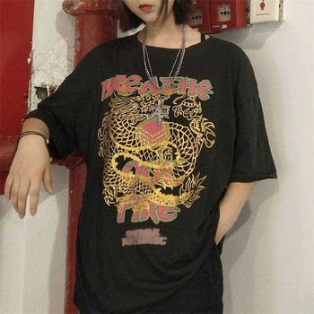 NiceMix China Dragon Print T-shirt Streerwear Summer Japanese T Shirts Half Sleeve O-neck Tees Girl Hip Hop Tops Causal Punk Tee