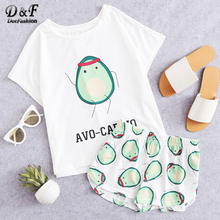 Dotfashion Cartoon Avocado Print Tee And Shorts Set Women Pajamas