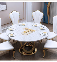Marble Post Modern Simple Light Luxury Dining Table and Chairs Set Hotel Custom Creative round Dining Table