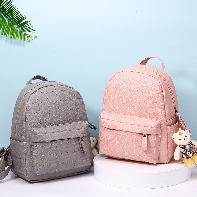 Casual Backpack Female PU Leather Women's Backpack Large Capacity School Bag For Girls Multifunction Leisure Shoulder Backpack