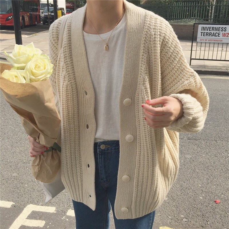 HziriP Gentle Chic Solid All-Match Puff Sleeves Cardigans Fashion Loose Knitted Women Casual Students Brief Cute Tops Sweaters