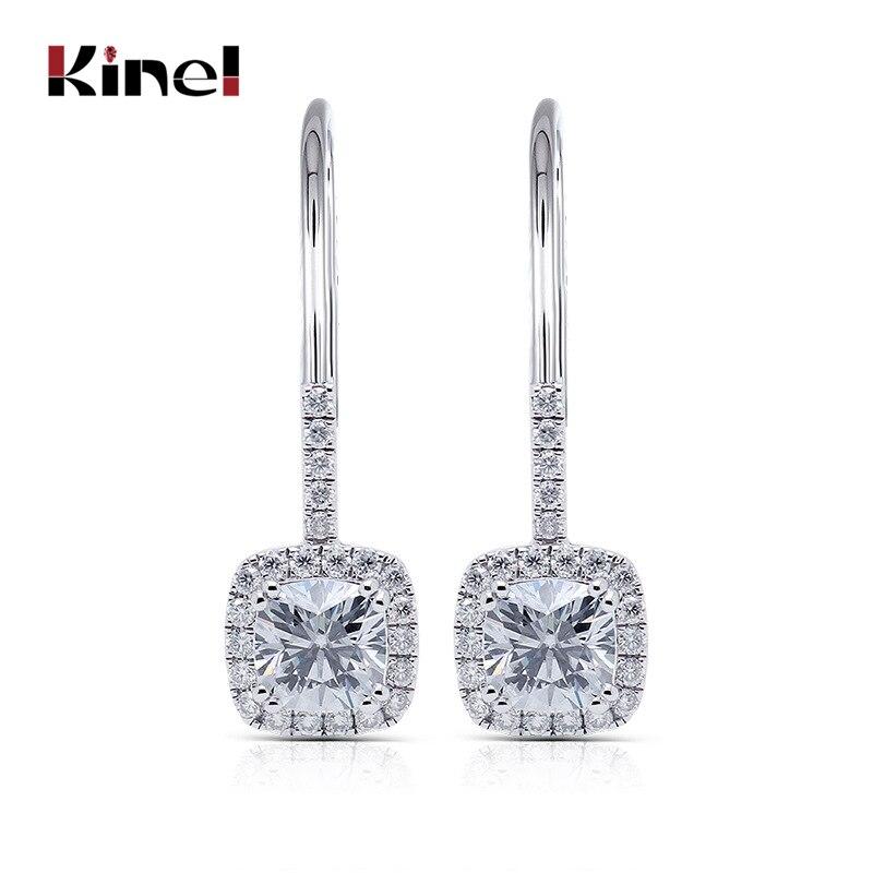 Kinel Fashion Silver Color Drop Earrring Statement Party Wedding Cushion Cut CZ Zircon Dangle Earrings For Women Jewelry