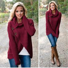 Женский трикотажный свитер с высоким воротником теплый вязаный