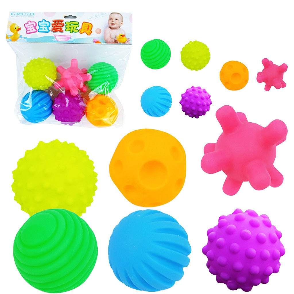 6pc Baby Toys Massage Ball Baby Early Education Puzzle Hand Catch Ball Bathroom Spray Water Ball Children Bath Toys Fitness Ball