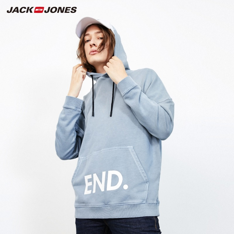 JackJones Men's Fashion Loose Fit Gradient Hoodie Menswear Sports| 219133537