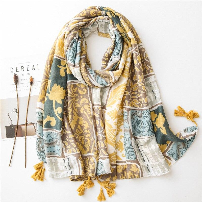 Bufanda con estampado de otoño e invierno para mujer, chales largos bohemios, bufandas para mujer, capa hiyab store, 2020