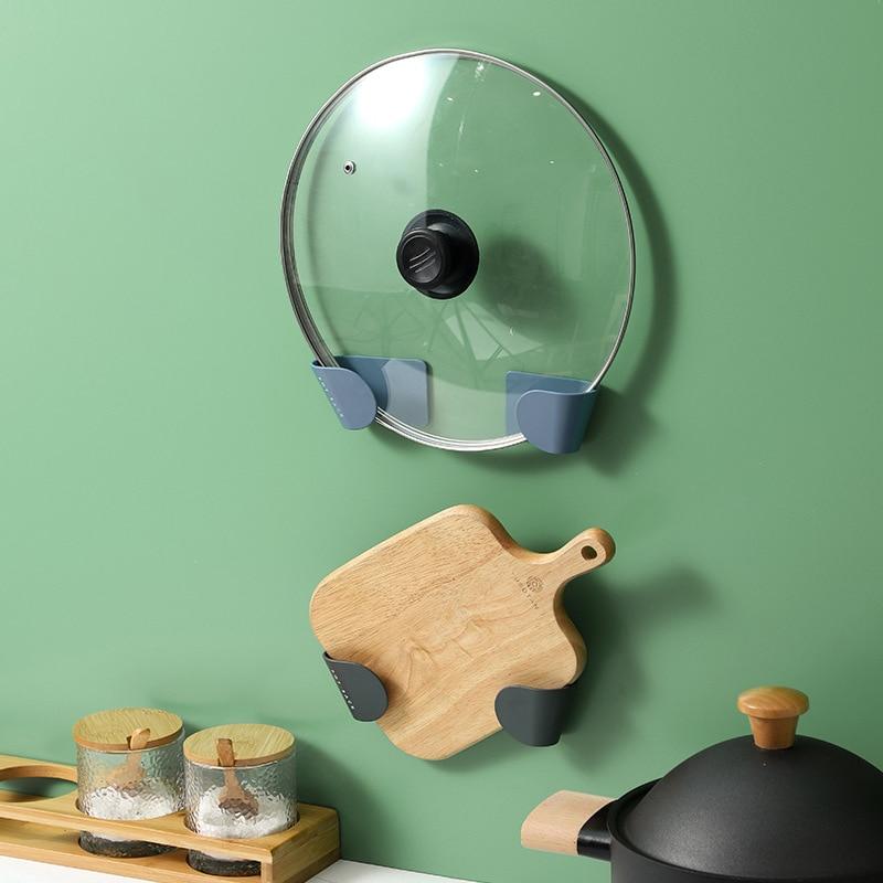 2 Pcs/Set Pot Lid Holder Wall-Mounted Hanging Holder for Pan Pot Cover Rack Kitchen Organizer Plastic Tool Kitchen Storage Rack
