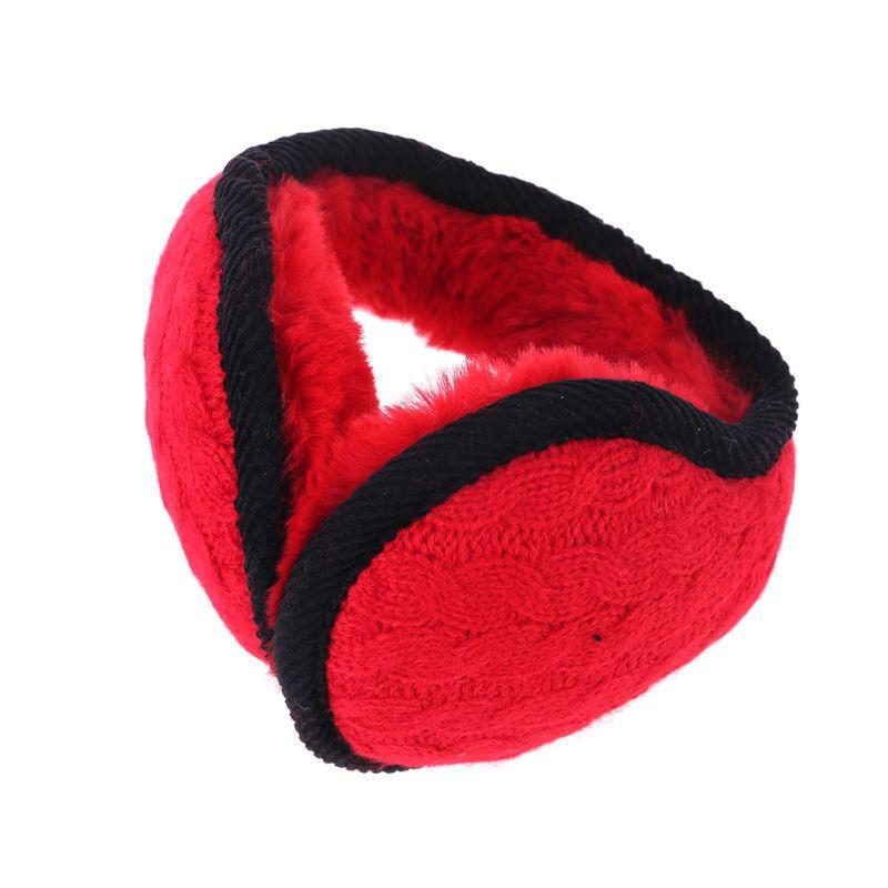 Women Men Wavy Stripes Knitted Winter Foldable Earmuffs Thicken Plush Ear Warmer LX9E