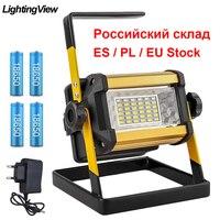 Luce di inondazione 50W faretto portatile proiettore riflettore a LED per esterni lampada da costruzione Bouwlamp batteria ricaricabile 18650