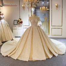 مذهلة جميلة رداء سواريه دبي قطار طويل الزفاف اللباس الكامل الديكور