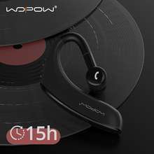Wopow bluetooth 5.0 sem fio fone de ouvido gancho da orelha negócio único fone 15hrs chamada hd 170mah à espera handsfree fone com microfone