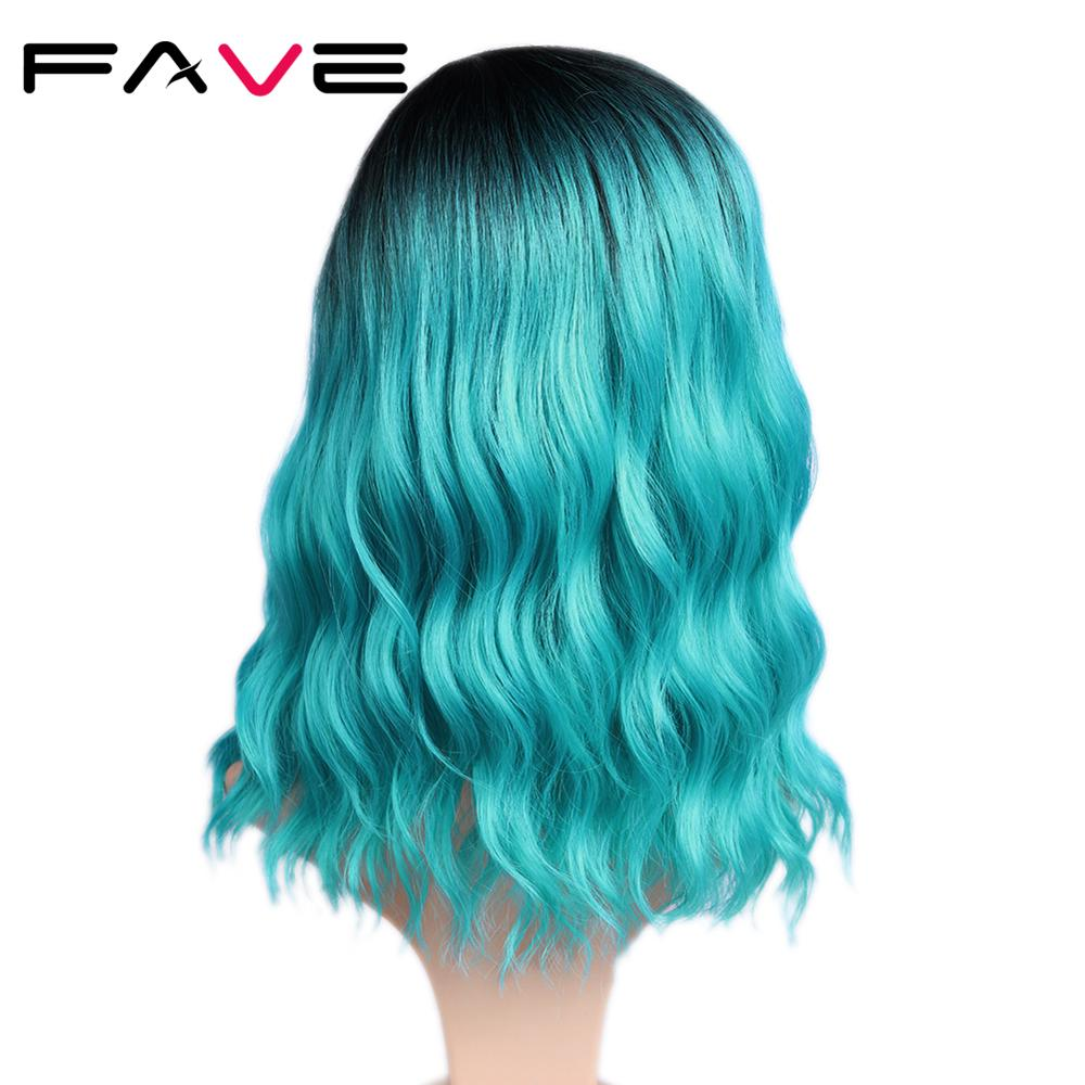 FAVE Short Water Wave Hair Mixed Black Blue Heat Resistant Fiber Natural Synthetic Wig For Black/White America Women Cosplay