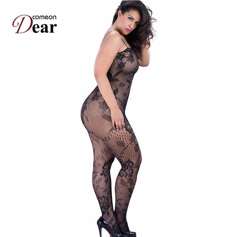 Comeondear Plus Kích Thước Crotchless Thân Lưới Gợi Cảm Bodystocking Fishnet XL Nữ Erotique Con Điếm Xem Qua Bodysuit Nylon HB3138