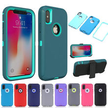 Armor untuk iPhone X XS Max XR 7 8 6 6S Plus Case 3 In 1 PC TPU Shockproof Defender Cover UNTUK iPhone 11 Pro Max(China)