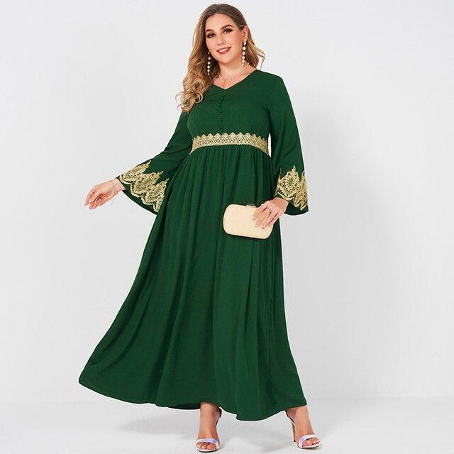 Spring  Autumn New Women's Fashion V-neck Lace Stitching Long Banquet Elegant Plus Size Slim Long-sleeved Dress