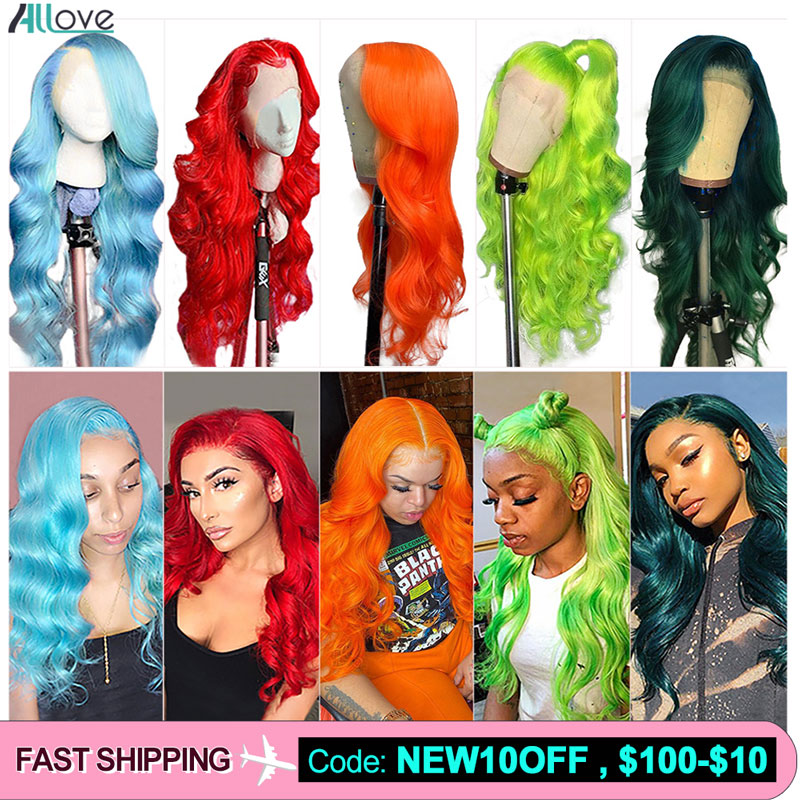 Allove Pink Human Hair Wigs 150% Brazilian Body Wave Human Hair Wigs Blue Orange Green Human Hair Wigs Body Wave Lace Front Wig