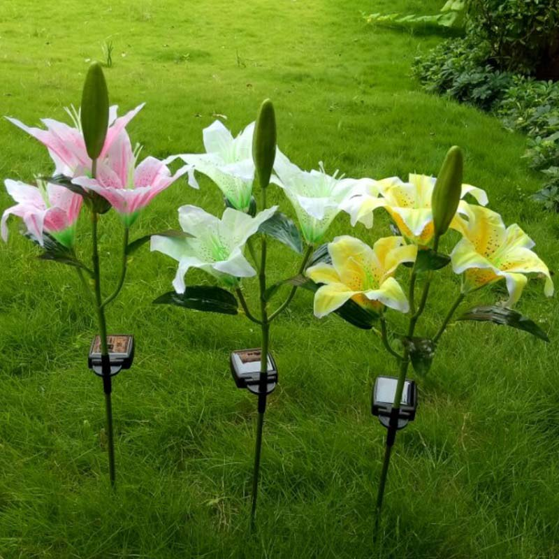 Solar Power 3 LEDs Lily Fake Flower Garden Stake Landscape Lamp Outdoor Balcony lawn Yard Party Decor Lights LB88