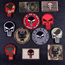 Pulaqi Punisher Patches For Clothing Seal Team Velcros Patch Embroidered/PVC Military Skull patch Stripes Tactical flag patches