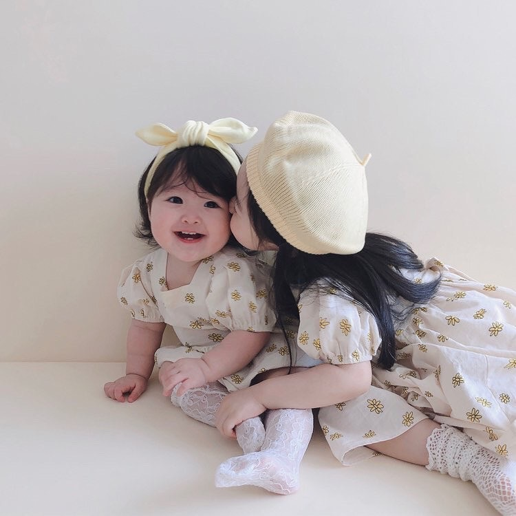 3741 Children Clothes Parent-child Sister Family Clothes Daisy Printed Romper Or Dress Or 2 Piece Suit Twins Sister Clothes