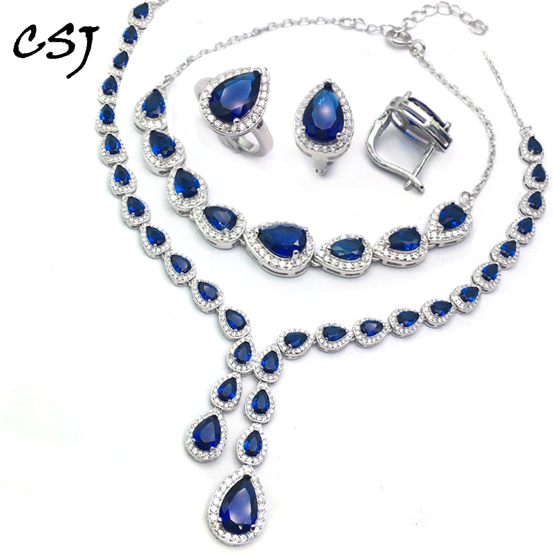 Luxury Sapphire Jewelry Sets Sterling 925 Silver Created Sapphire Fine Jewelry Women Lady Party Wedding Gift With Box