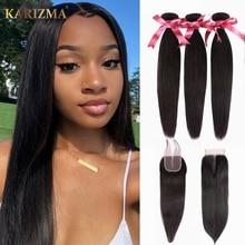 Karizma Brazilian Hair Weave Bundles With Closure 4X4 Closure Human Hair Weave Straight Hair Bundles With Closure Non Remy Hair